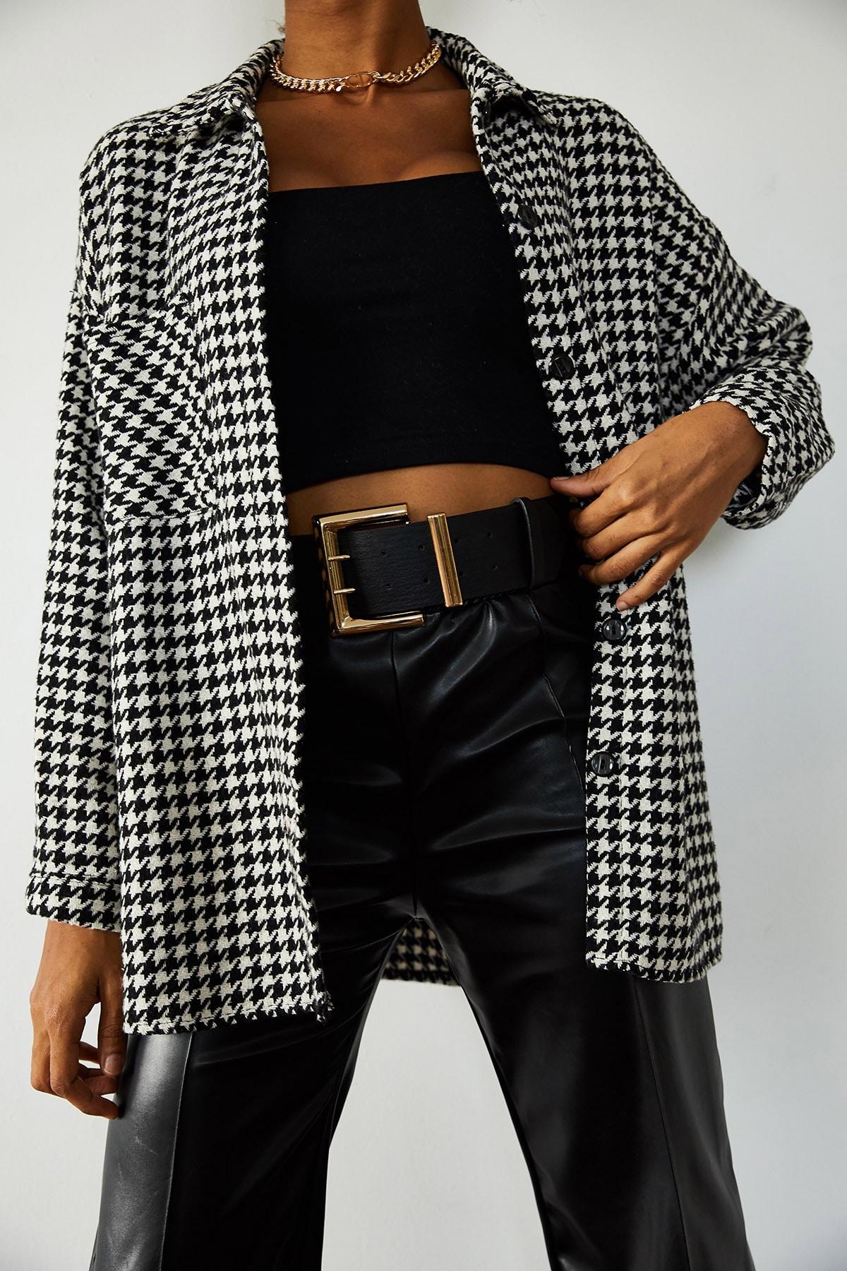 XENA Kadın Beyaz & Siyah Kazayağı Desenli Yünlü Ceket Gömlek 1KZK2-10762-01 2