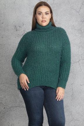 Şans Kadın Yeşil Geniş Örgü Boğazlı Triko Kazak 65N19273