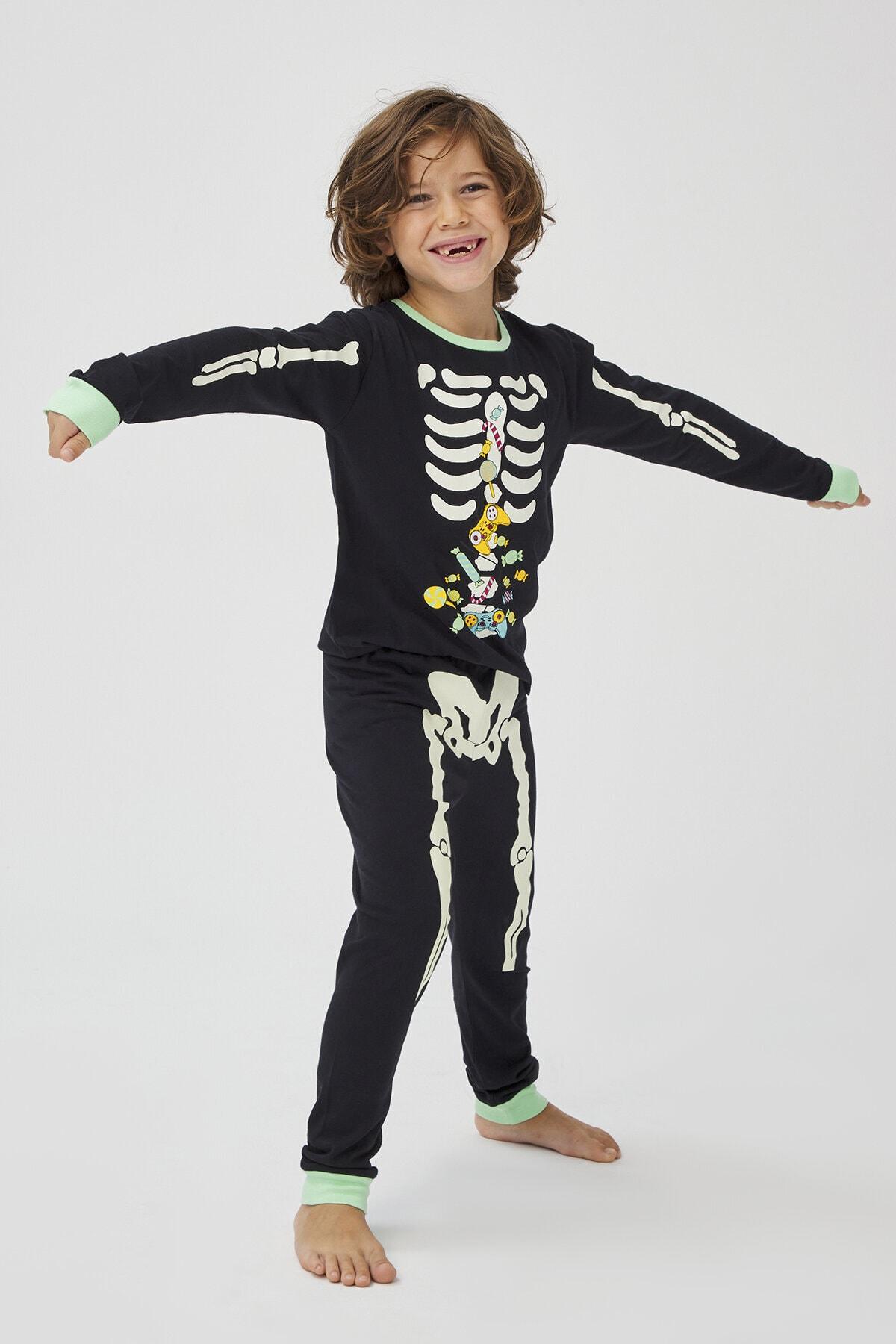 Penti Siyah Erkek Çocuk Skeleton 2Li Pijama Takımı