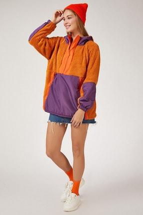 Happiness İst. Kadın Hardal Fermuarlı Oversize Polar Sweatshirt OX00011