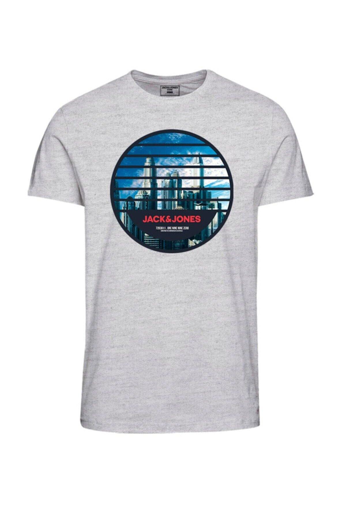 Jack & Jones Erkek Gri Ifter Core Tee SS Crew Neck T-Shirt 1