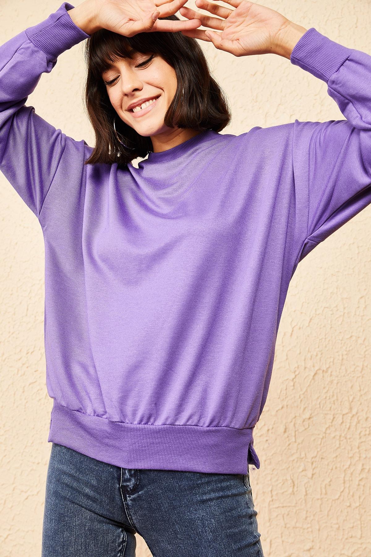 Bianco Lucci Kadın Lila Basic Sweatshirt 10161036