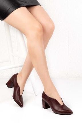 Gondol Hakiki Deri Klasik Topuklu Tarz Ayakkabı Şhn.227 - Bordo - 38