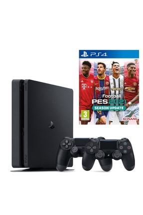Sony Playstation 4 Slim 1 TB + 2. PS4 Kol + PS4 Pes 2021