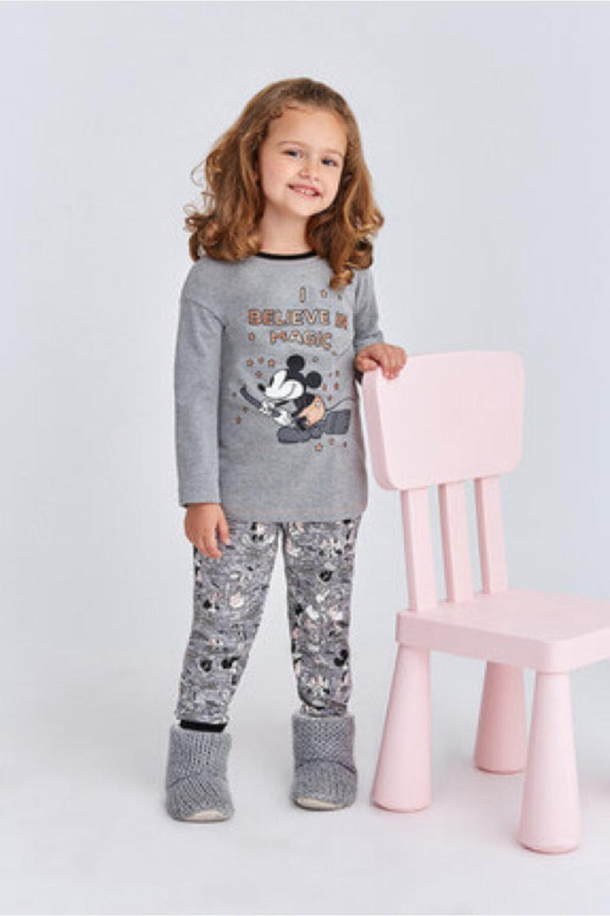 Mickey Mouse Kız Çocuk Gri Mickey Mause Kız Garson Pijama Takımı 1