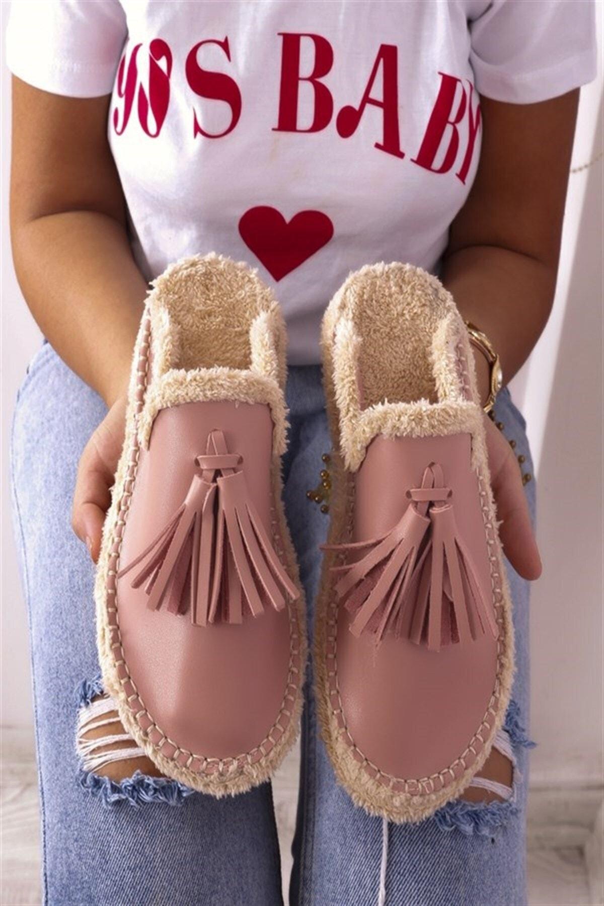 RK Format Shoes Kadın Pudra Terlik 1