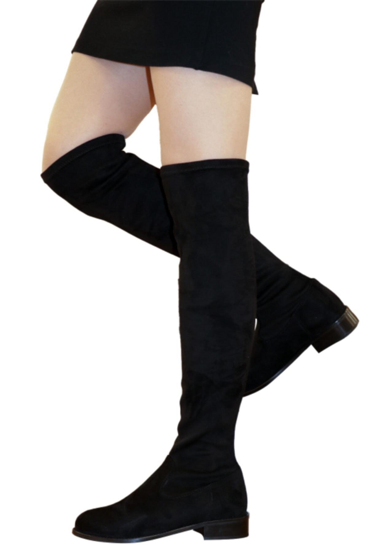 OZ DOROTHY Kadın Siyah Süet Streç Diz Üstü Çorap Çizme 1
