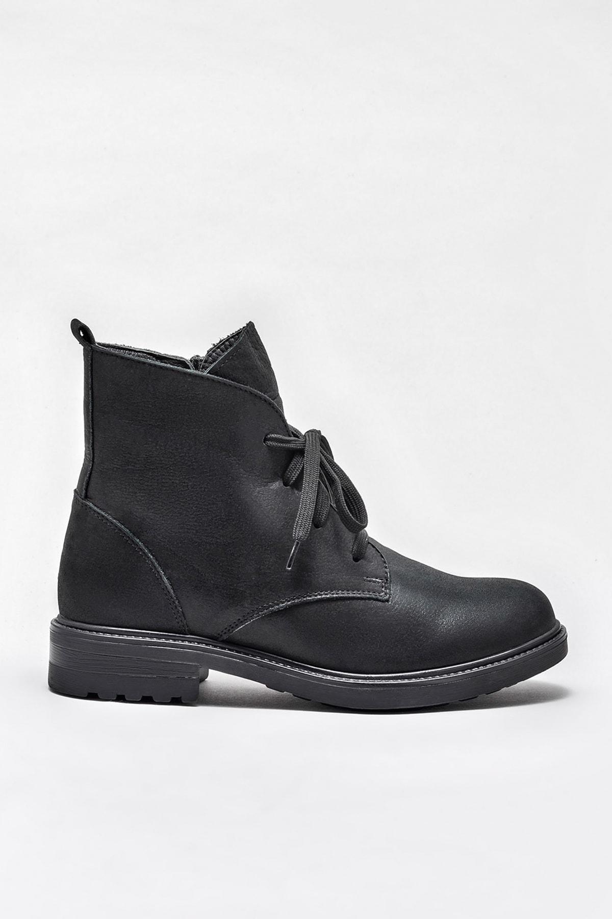 Elle Shoes MARITZA Hakiki Deri Siyah Simli Kadın Bot 1