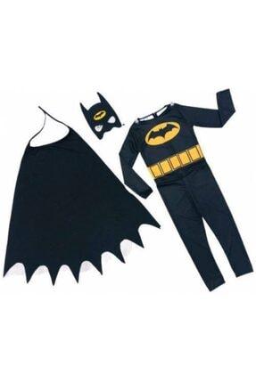 Zeki Karga Erkek Çocuk Siyah Batman Yarasa Adam Kostümü Pelerinli Maskeli