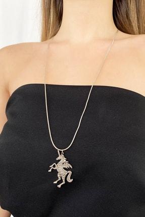 TAKIŞTIR Gümüş Renk Unicorn Taşlı Kolye