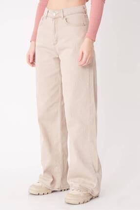Addax Kadın Bej Cep Detaylı Bol Paça Pantolon Pn1072 - Pni ADX-0000023093