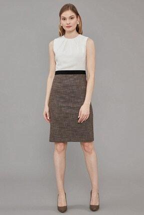 Journey Elbise- Sıfır Yakadan Pileli, Kemer Üstü Grogren Detaylı, Kalem