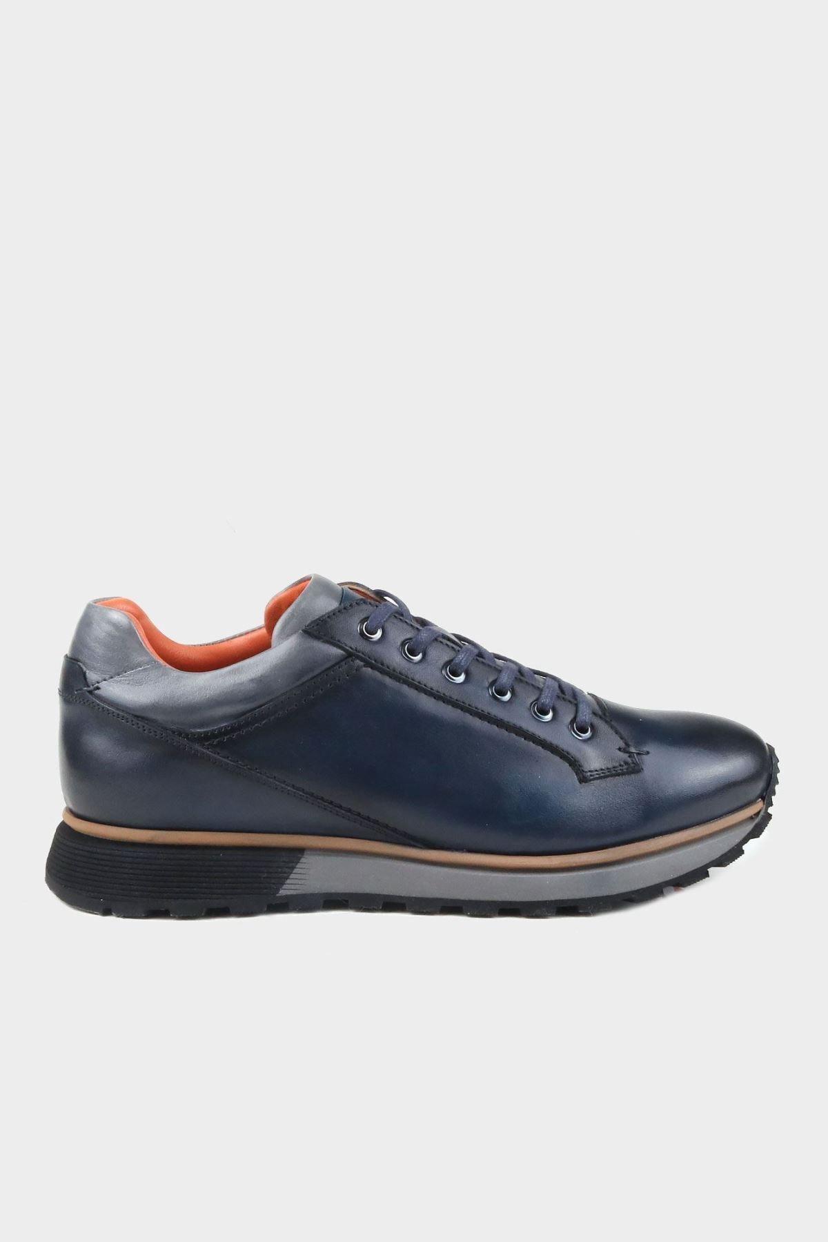Alberto Rossi Lacivert Dogal Deri Taban Detaylı Erkek Deri Sneaker 1