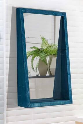 bluecape Doğal Ağaç Masif 70x42 Cm Asrın Mavi Salon Ofis Mutfak Çocuk Odası Duvar Konsol Antre Boy Aynası
