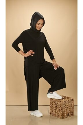 Zare Butik Ceremony Pliseli Pantolon Tunik Sandy Takım Siyah Cy99741
