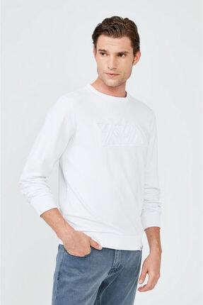 Avva Erkek Beyaz Bisiklet Yaka Gofre Baskılı Sweatshirt A02y1063