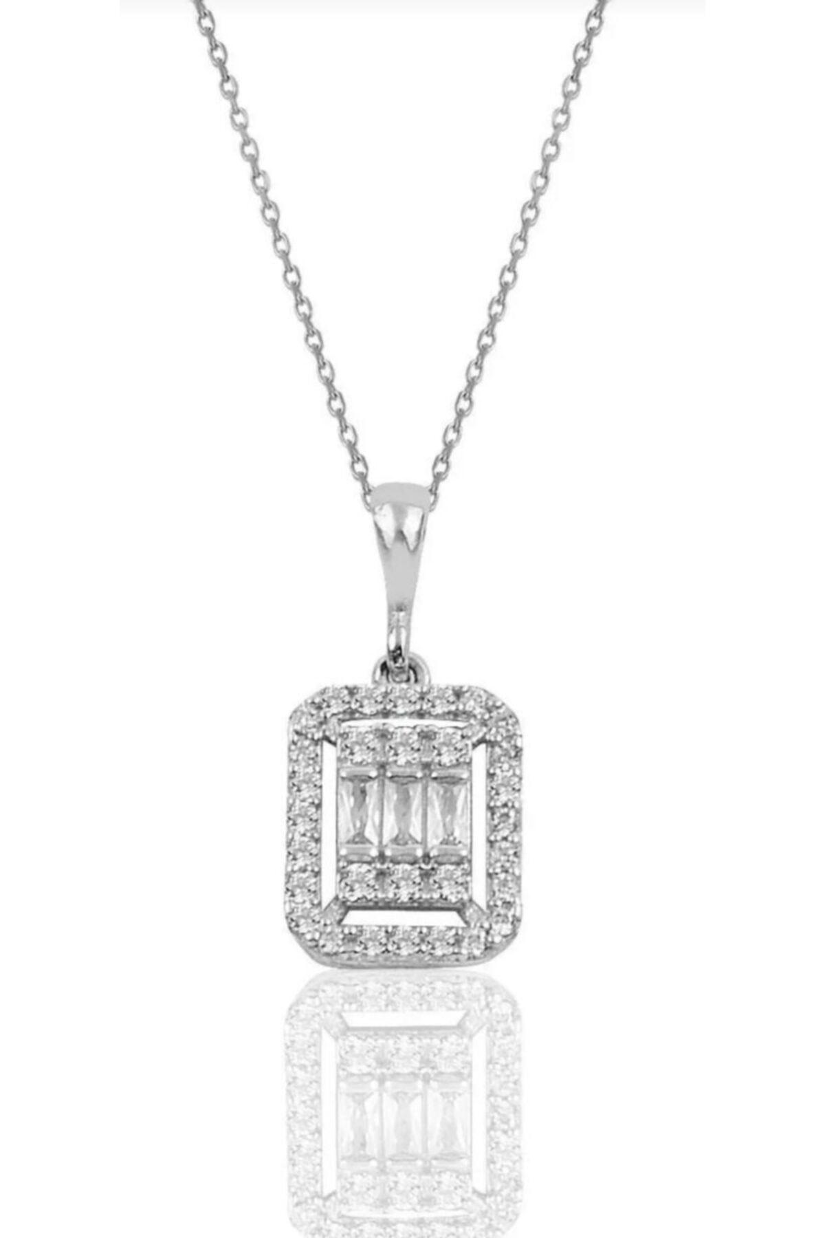 esjewelry Gümüş Baget Taşlı Kadın Gümüş Kolye 1