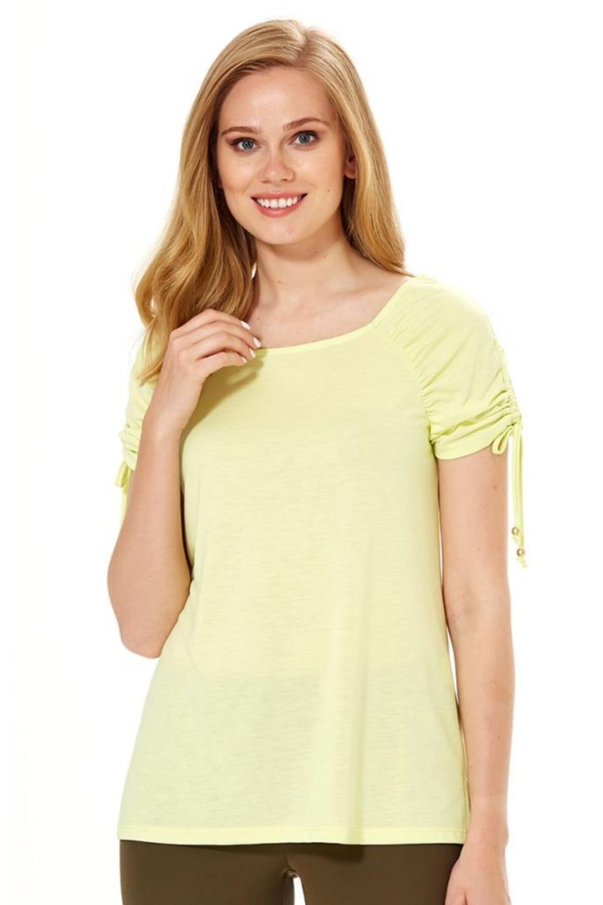 İKİLER Kadın Açık Fıstık Yeşil Kolu Büzgülü Bağcıklı Bluz 018-1204 1