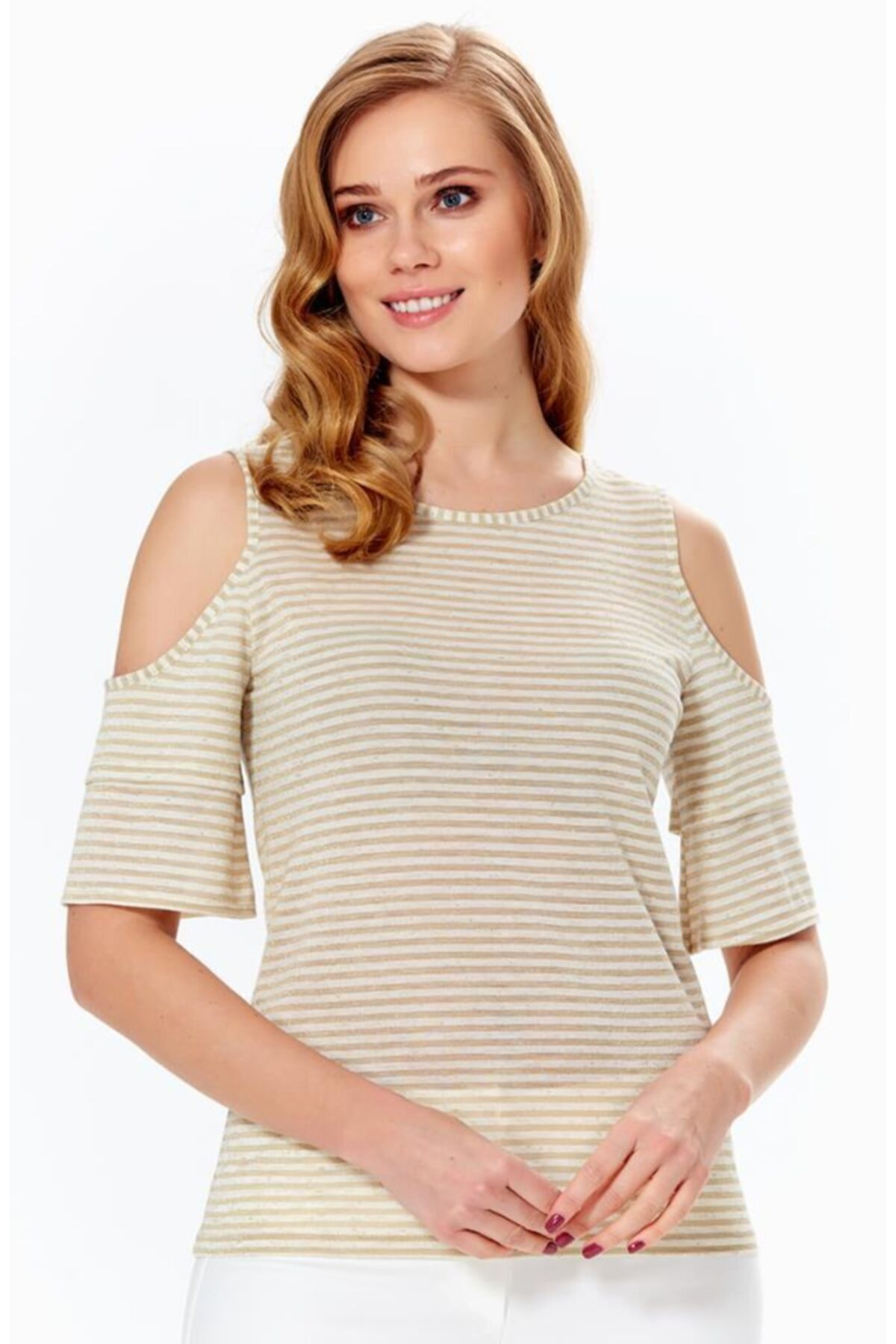 İKİLER Kadın Kum Beji Omuzu Yırtmaçlı Volanlı Çizgili Bluz 018-1610 1