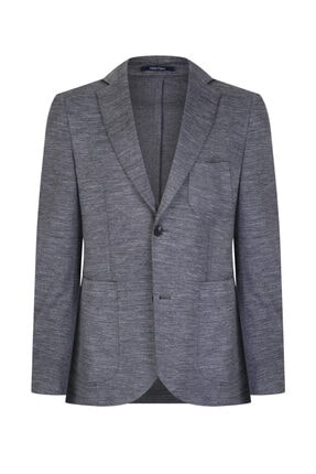 W Collection Gri Örme Kumaş Ceket