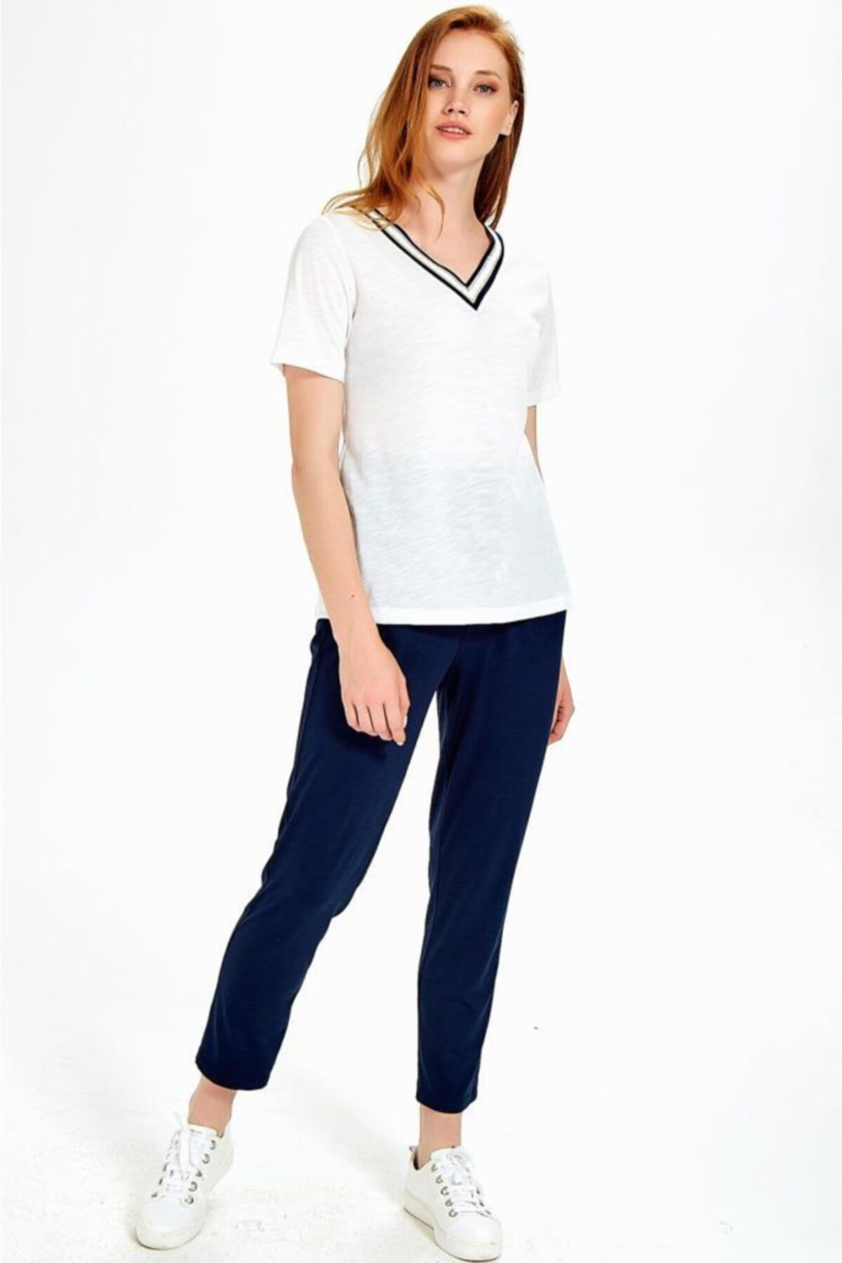 İKİLER Kadın Kırık Beyaz Yakası Sim Bantlı Kısa Kol Flam Bluz 2