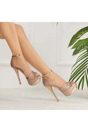 Ayakkabı Delisiyim Likare Bronz Topuklu Platform Ayakkabı