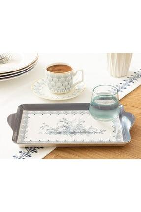 English Home Tual Melamin Tek Tepsi 24x14 Cm Beyaz - Mavi