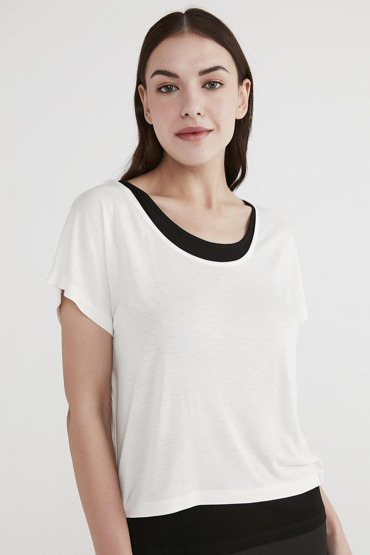 Penti Kadın Beyaz Basic Double Tişört 1