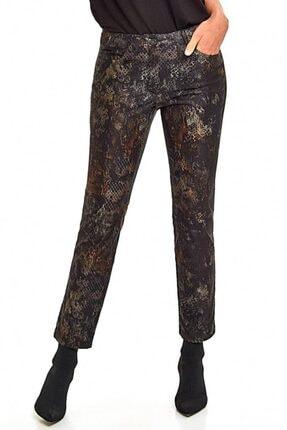 İKİLER Kadın Haki Beş Cepli Desenli Pantolon