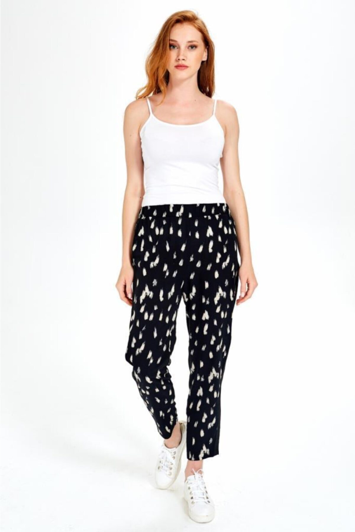 İKİLER Kadın Siyah Yanları Triko Bantlı Desenli Pantolon 190-3504-01 2