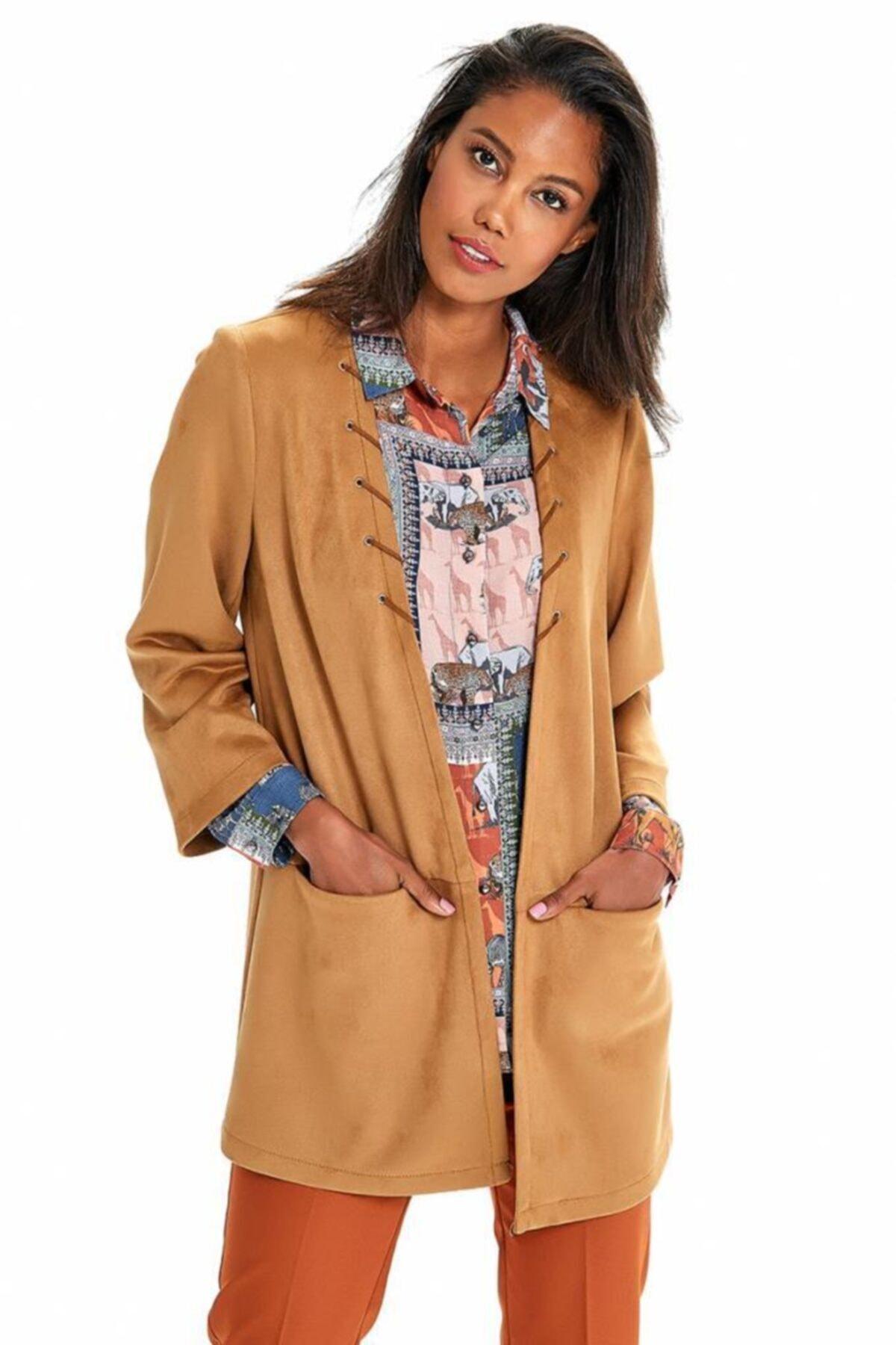 İKİLER Kadın Kahverengi Cepli Uzun Süet Ceket 1