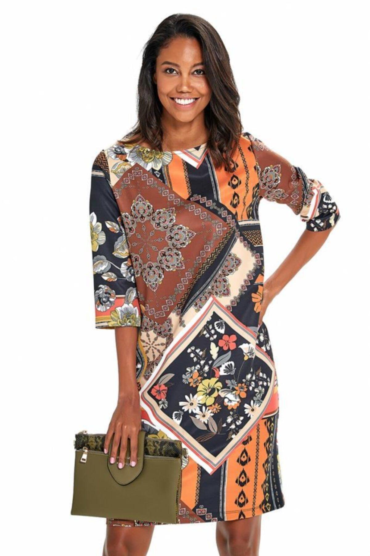 İKİLER Kadın Kahverengi Truvakar Kol Etnik Desenli Elbise 190-4026 1