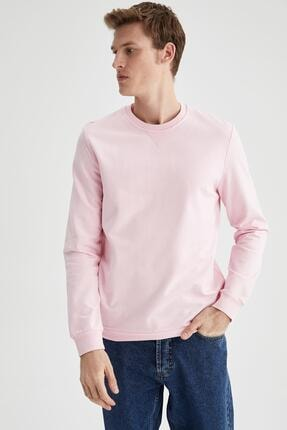 DeFacto Erkek Pembe Regular Fit Bisiklet Yaka Basic Sweatshirt
