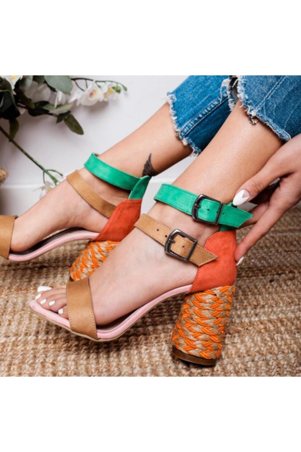 Limoya Galilea Kum Oranj Yeşil Çift Bantlı Gerçek Hasır Topuklu Sandalet 1