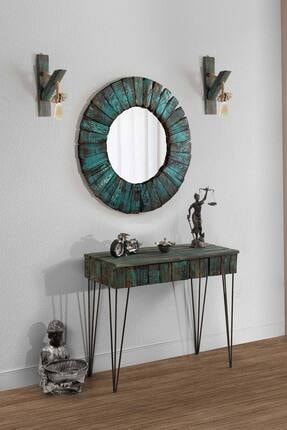 bluecape Doğal Ağaç Turquois Exclusive Vintage Edition Saat Dresuar Ayna Salon Koridor Hol Dekor Takım Set