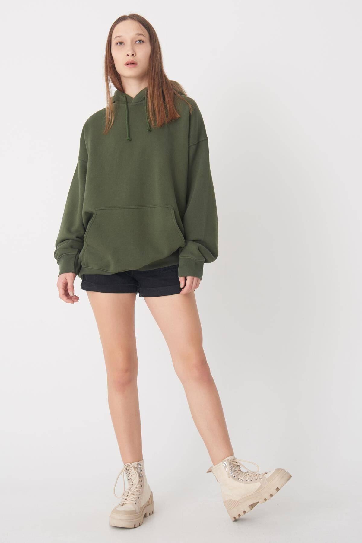 Addax Kadın Yeşil Kapüşonlu Uzun Sweat S9477 - S7 ADX-0000022987 2
