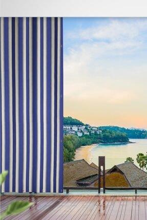 ALTINPAMUK Her Ölçüde Enxboy Seçenekli Kuşgözlü Balkon Perdesi Balkon Brandası Mavi Beyaz