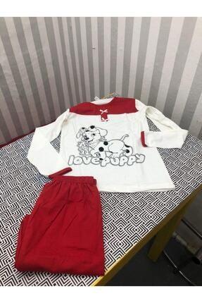 Wonder Kıds Kız Çocuk Beyaz Uzun Kollu Köpek Desenli Pijama Takımı