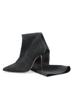 Flower Siyah Triko Topuklu Çizme