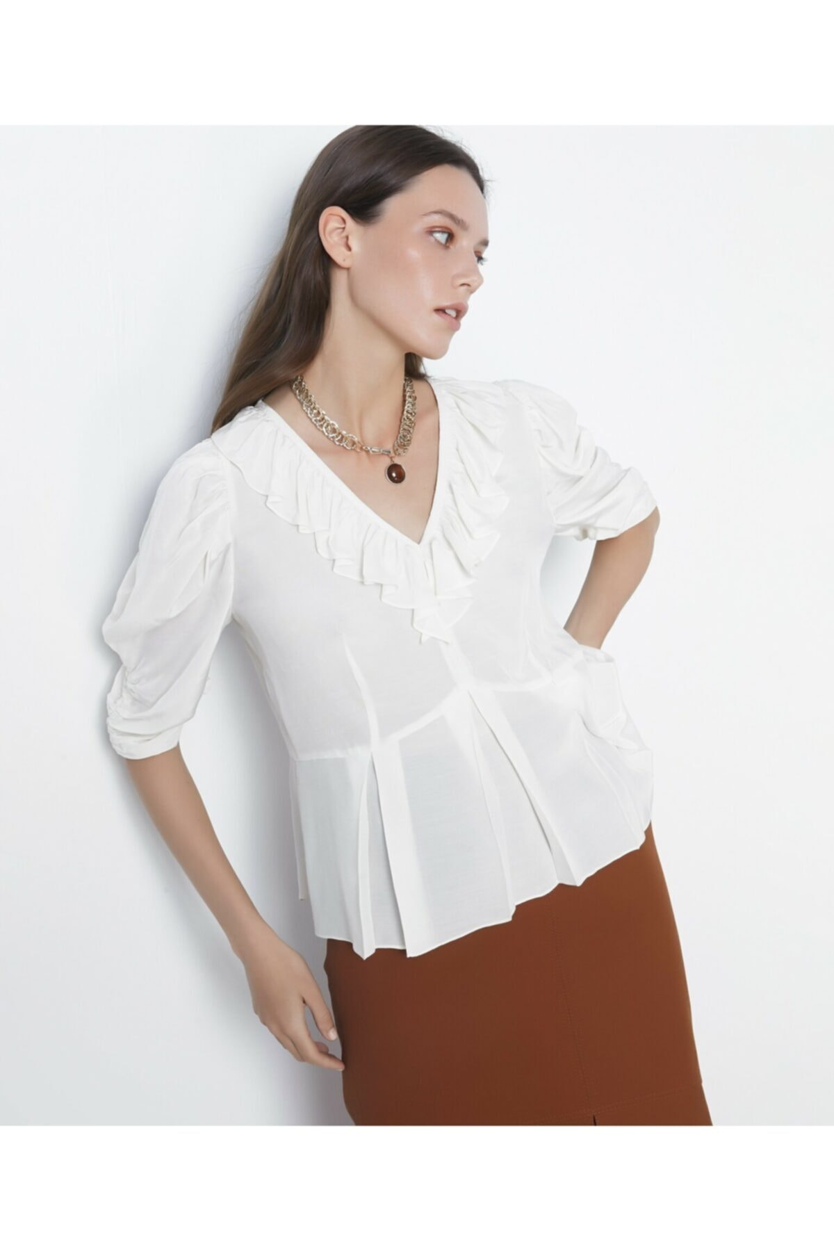 İpekyol Fırfır Şeritli Bluz 1