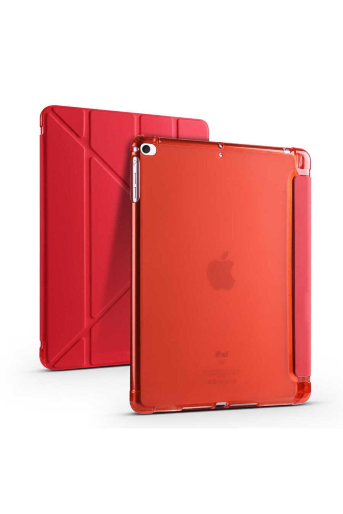 carına vannı Apple Ipad 9.7 2018 Uyumlu Kırmızı,kalem Bölmeli,katlanabilir Tablet Kılıfı,standlı Kılıf Pnd 1