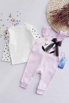Babymod Fiyonk Detaylı Kız Bebek Tulum Salopet Takım