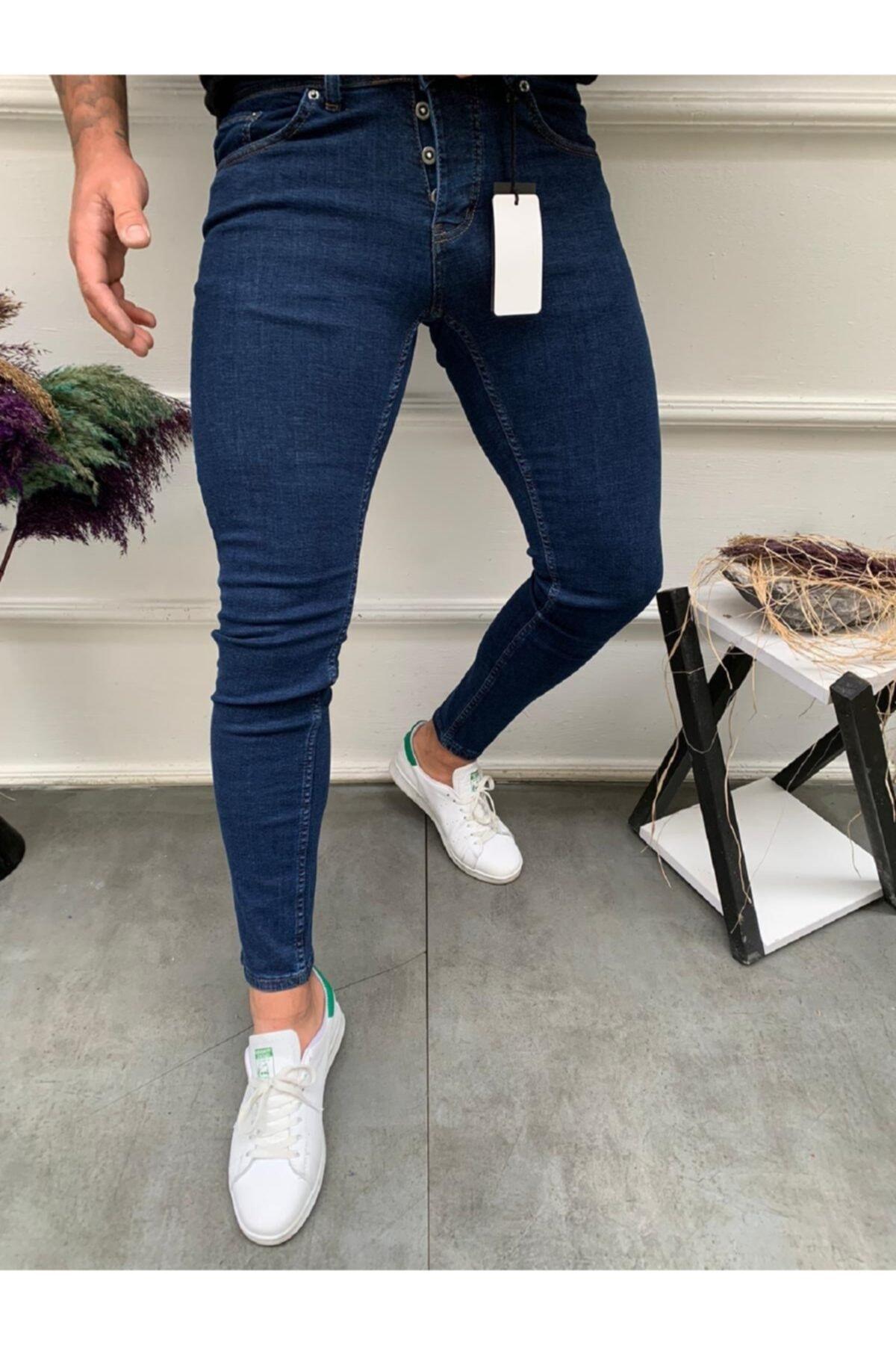 MCM Shopping Erkek Jean Italyan Kesim Denım Kot Mavi Pantolon Skınny Fit 1