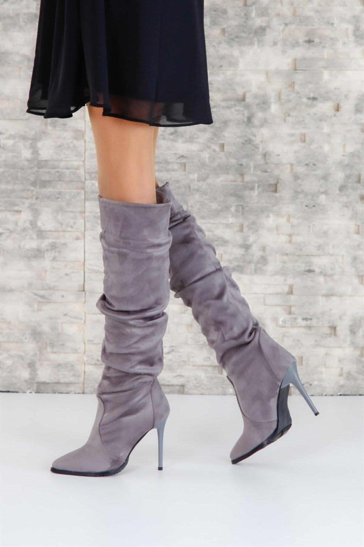 ShoeTek 1377 Kadın Çizme Gri Süet 2