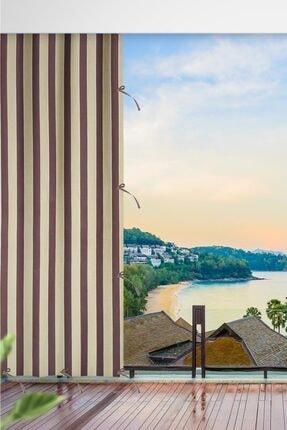 ALTINPAMUK Her Ölçüde Enxboy Seçenekli Bağcıklı Balkon Perdesi Balkon Brandası Kahve Krem