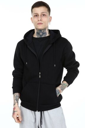 HOLLYMOOD Erkek Siyah Kapüşonlu Fermuarlı Sweatshirt