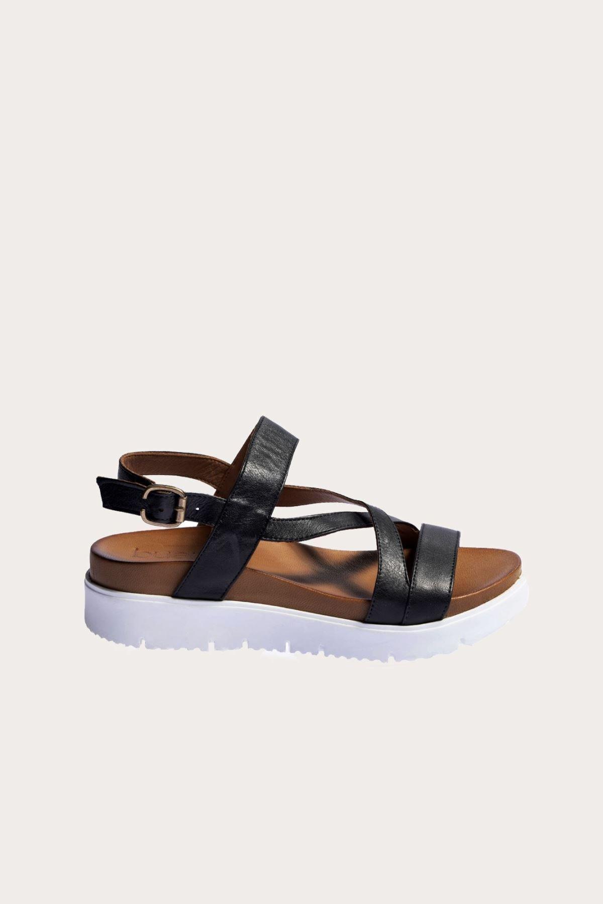 Bueno Shoes Siyah Deri Kadın Düz Sandalet 1