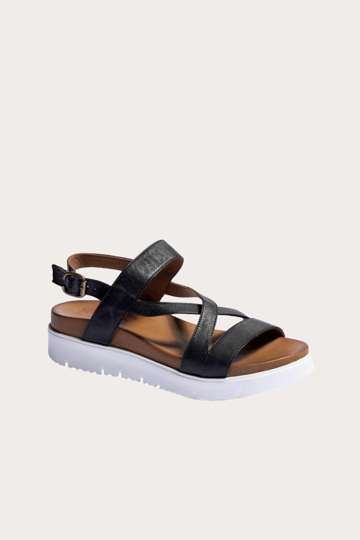 Bueno Shoes Siyah Deri Kadın Düz Sandalet 2