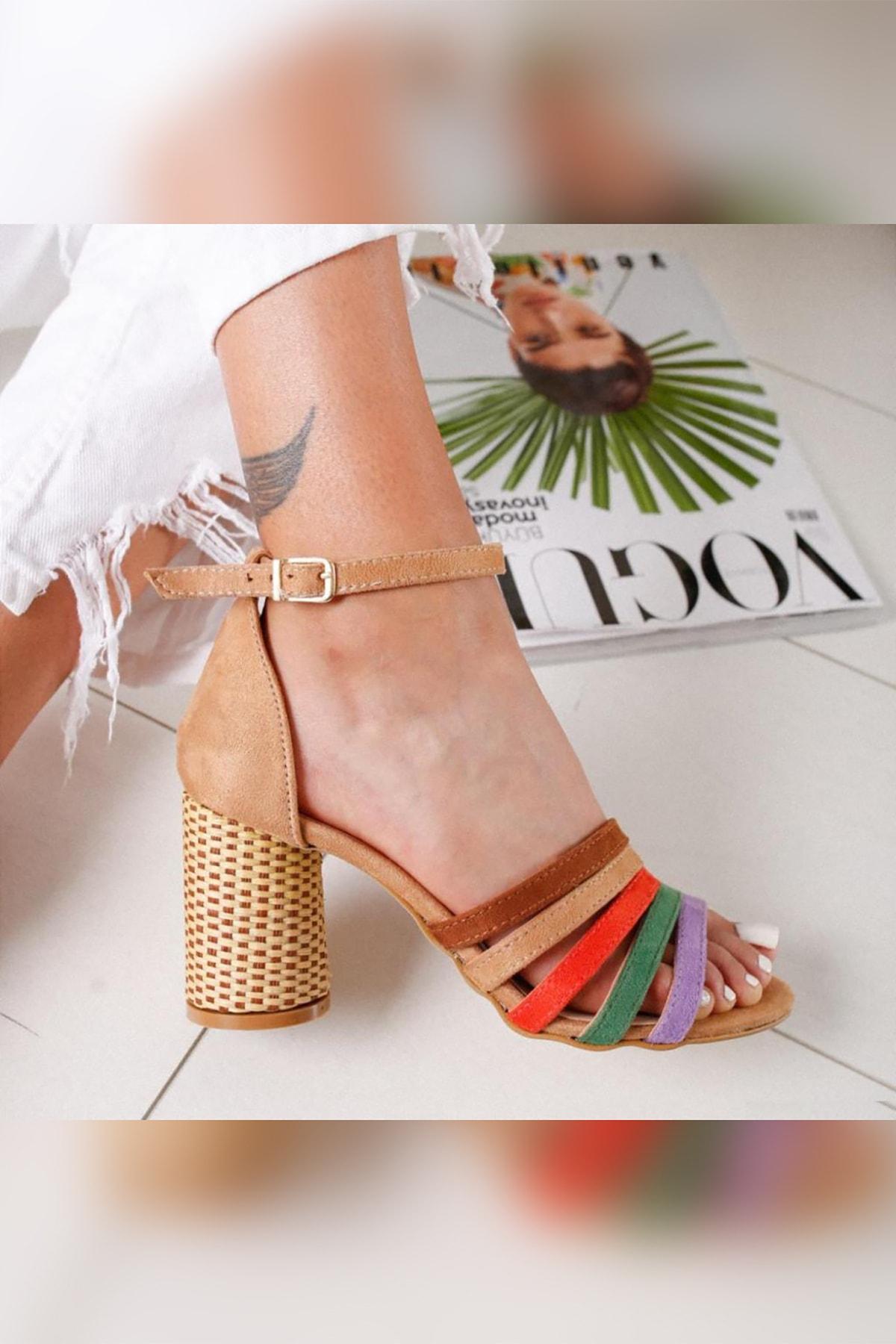 Limoya Kadın Kum Süet Multi Hasır Topuklu Ayakkabı 2