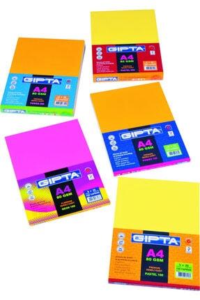 Gıpta Neon-100 A4 80 gram Renkli Fotokopi Kağıdı 100lük Paket (5 Renk X 20 Yaprak) 1530